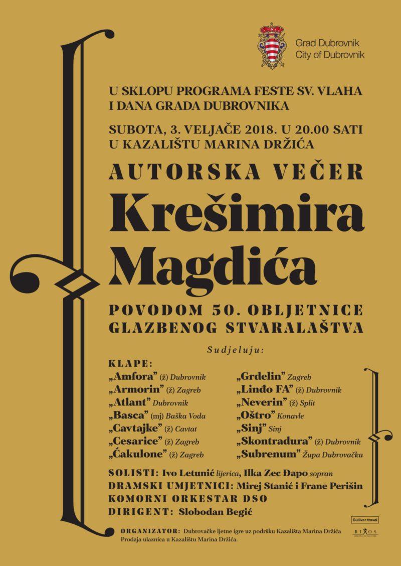 Autorska večer Krešimira Magdića u Kazalištu Marina Držića
