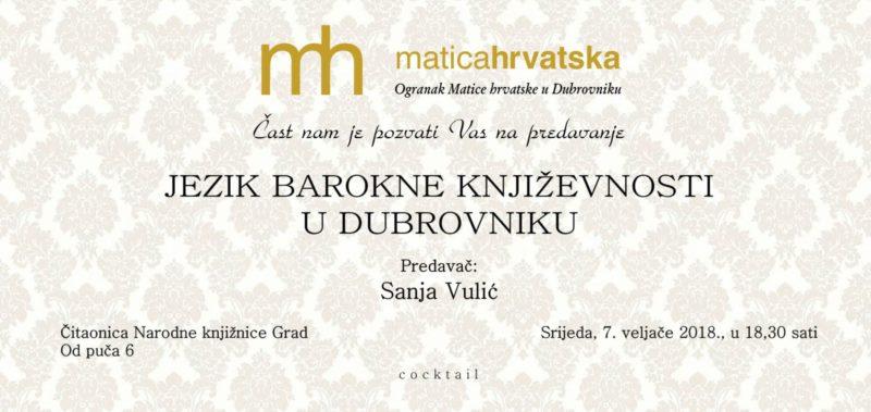 Predavanje - Jezik barokne književnosti u Dubrovniku