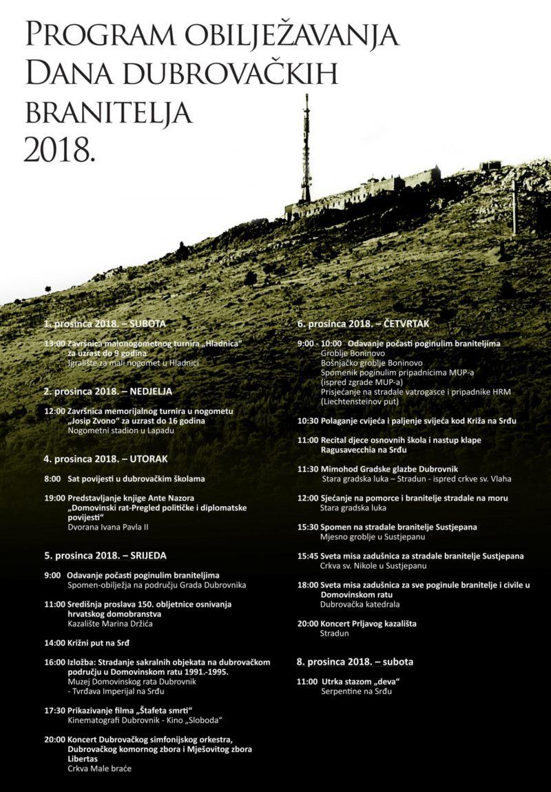 Program obilježavanja Dana dubrovačkih branitelja 2018.