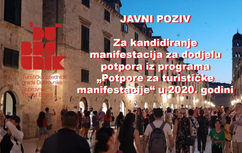 """Javni poziv za kandidiranje manifestacija za dodjelu potpora iz programa """"Potpore za turističke manifestacije"""" u 2020. godini"""