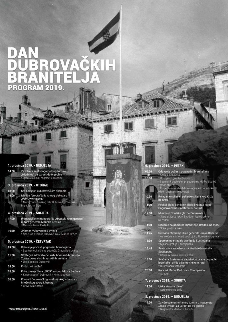 Program obilježavanja Dana dubrovačkih branitelja 2019.