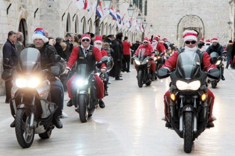 Motorcycle Santas on Stradun
