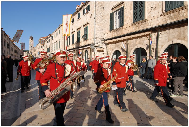 Parade of the City of Dubrovnik marching band and performance with cathedral choir