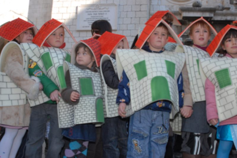 Parade across Stradun of students from the 1st to the 4th grades of Dubrovnik primary schools