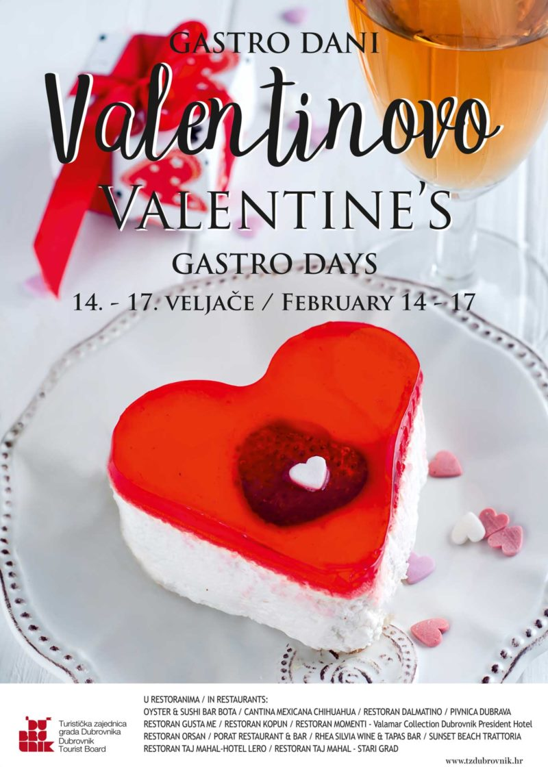 Romantic Valentine's Day with top quality offers from Dubrovnik restaurants